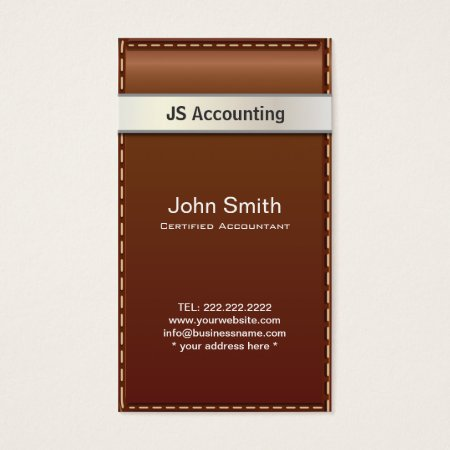 Beautiful Stitched Brown Leather Accountant Business Card