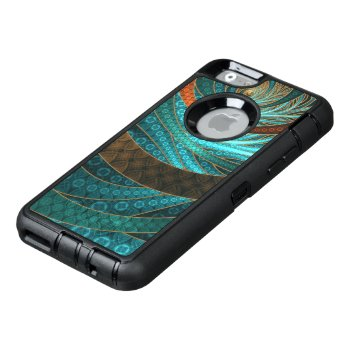 Beautiful Leather & Blue Turquoise Fractal Jewelry Otterbox Defender Iphone Case by Fractalscapes at Zazzle