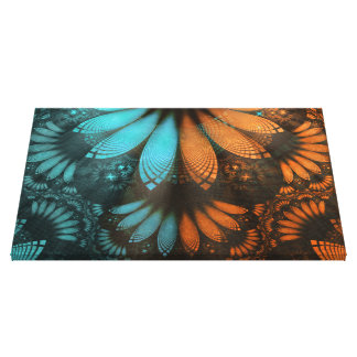 Beautiful Leather, Feathers, and Turquoise Fractal Canvas Print