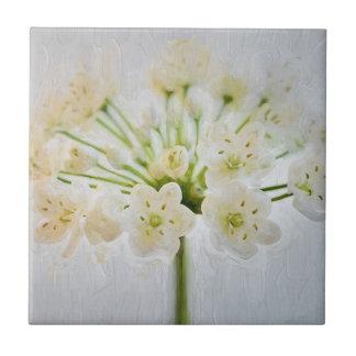 Beautiful Leek Flower Painting Ceramic Tile