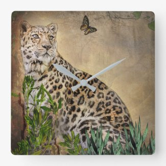 Beautiful Leopard and Butterfly Square Wall Clock