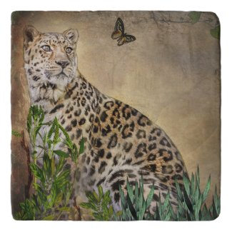 Beautiful Leopard and Butterfly Trivet