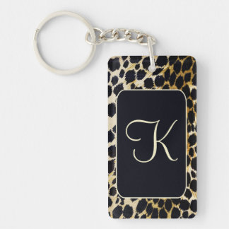 Beautiful Leopard Print with Initial Keychain