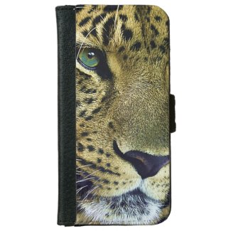 Beautiful Leopard Wild Animal Designer iPhone 6 Wallet Case