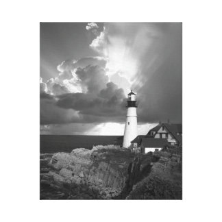 Beautiful Lighthouse Over the Ocean (b&w) Canvas