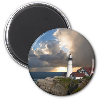Beautiful Lighthouse Sunset Over the Ocean Magnet