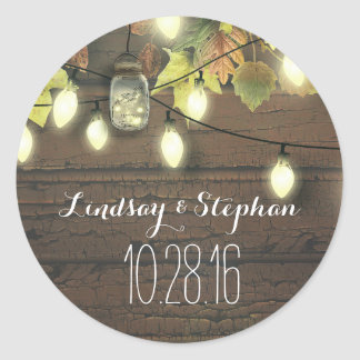 beautiful lights mason jars rustic wedding sticker