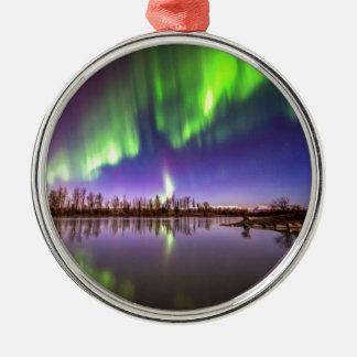 Beautiful Lights Round Metal Christmas Ornament