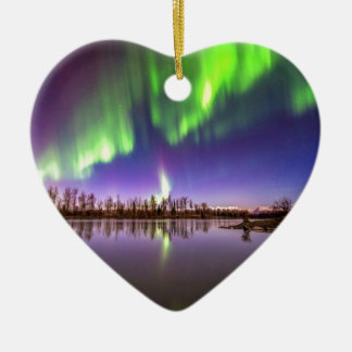 Beautiful Lights Double-Sided Heart Ceramic Christmas Ornament