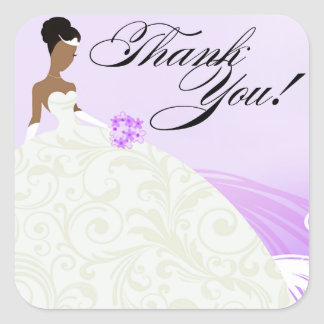 Beautiful Lilac and White Luxe Thank You Square Sticker