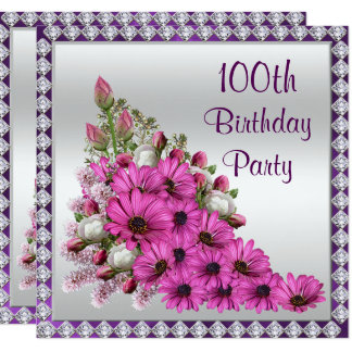 Beautiful Lilac Bouquet & Diamonds 100th Birthday Card