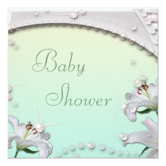 Beautiful Lilies and Sparkles Mint Baby Shower Card