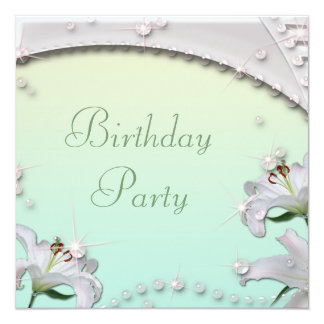 Beautiful Lilies and Sparkles Mint Birthday Party Card