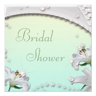 Beautiful Lilies and Sparkles Mint Bridal Shower Card