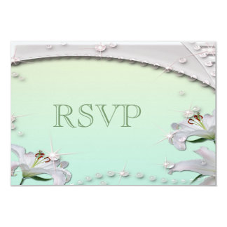 Beautiful Lilies and Sparkles Mint Green RSVP Card