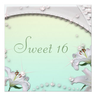 Beautiful Lilies and Sparkles Mint Green Sweet 16 Card