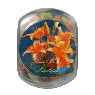 Beautiful Lilies Jelly Belly Candy Jar