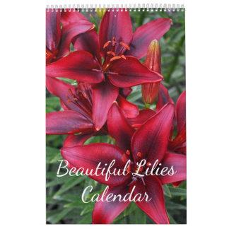 Beautiful lilies floral print calendar