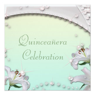 Beautiful Lilies & Sparkles Mint Green Quincenera Card