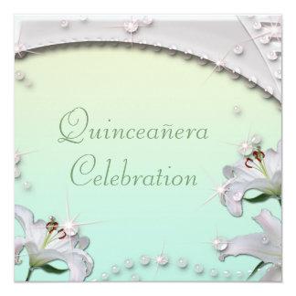 Beautiful Lilies & Sparkles Mint Green Quincenera Card