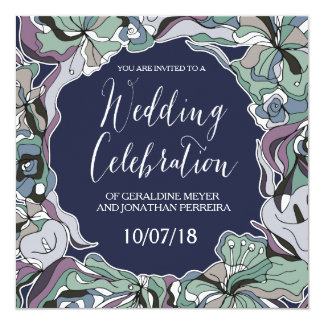 Beautiful Lillies Frame Wedding Invitation