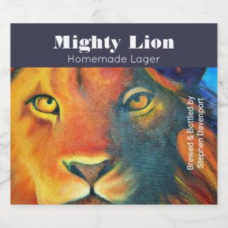 Beautiful Lion Head Portrait Regal and Proud Beer Beer Bottle Label