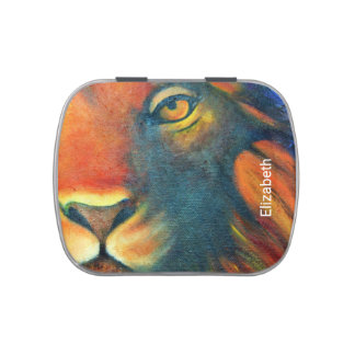 Beautiful Lion Head Portrait Regal and Proud Jelly Belly Tin