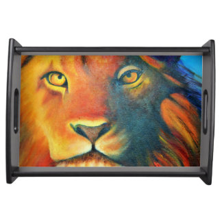 Beautiful Lion Head Portrait Regal and Proud Serving Tray