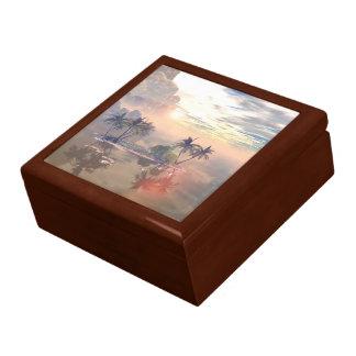 Beautiful little island in the sunset trinket box