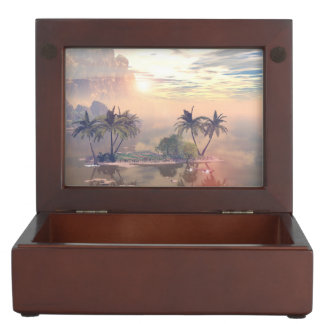 Beautiful little island in the sunset memory box