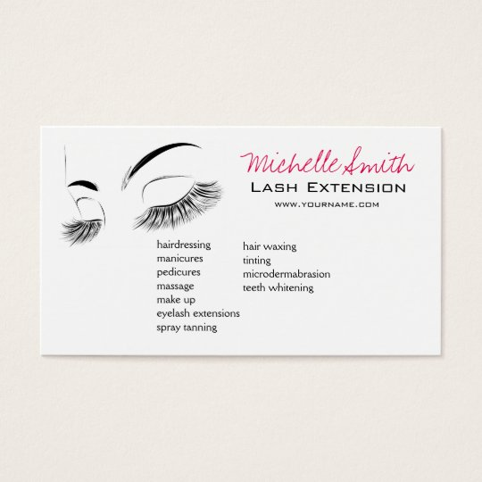 Beautiful long eyelashes lash extension business card for Eyelash extension gift certificate template