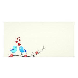 Beautiful love birds customized photo card