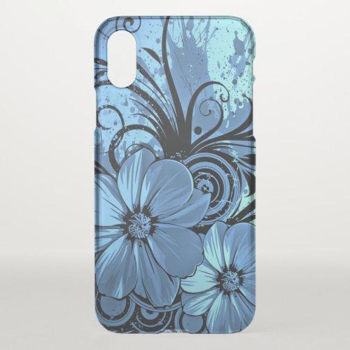 beautiful love blue flowers swirl art Phone Case