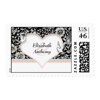 beautiful love heart with doves postage stamp