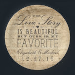 "Beautiful Love Story Rustic Barn Wood Wedding Paper Plate<br><div class=""desc"">These rustic wedding paper plates feature a barn wood look background with the phrase &quot;Every love story is beautiful,  but ours is my favorite&quot;.  Personalize these plates for a one-of-a-kind touch with your names and wedding date.  Complete the look with our matching paper napkins:</div>"