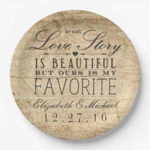 Beautiful Love Story Rustic Barn Wood Wedding Paper Plate  sc 1 st  Zazzle & Barn Wood Plates | Zazzle