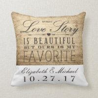 Beautiful Love Story Wedding Anniversary Pillow