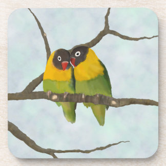 Beautiful Lovebirds Original Painting Coasters