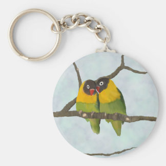 Beautiful Lovebirds Original Painting Keychain