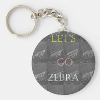 Beautiful Lovely Black and White Lets Go Zebra Keychain