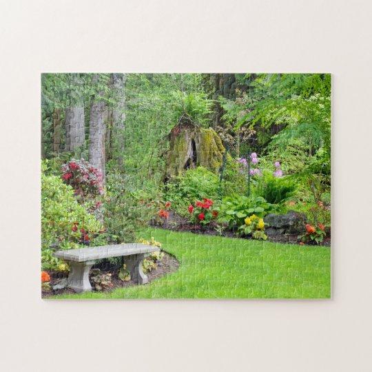 Beautiful lush green garden print puzzle
