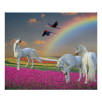 Beautiful Magical Unicorn Rainbow Flower Landscape Poster