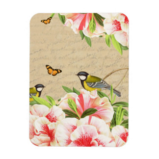 Beautiful magnet with pink flowers and birds
