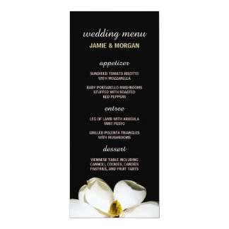 Beautiful Magnolia Wedding Menu 4x9.25 Paper Invitation Card