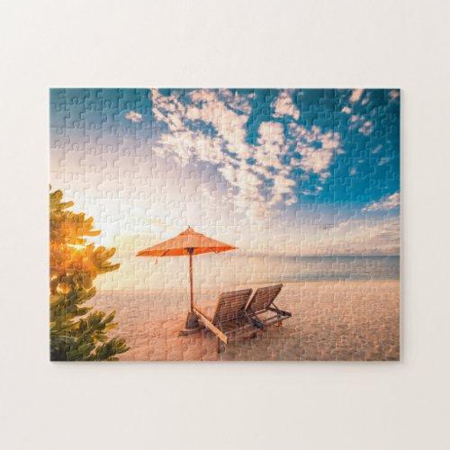 Beautiful Maldives Beach Sunset Jigsaw Puzzle