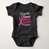 Beautiful Mamaw Grandma Breast Cancer Survivor Baby Bodysuit