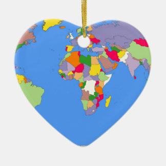Beautiful Map of the World Ceramic Ornament
