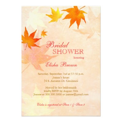 Beautiful Maple Leaf Fall Bridal Shower Invitation
