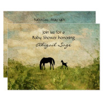 Beautiful Mare and Foal Horse Baby Shower Invitation