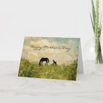 Beautiful Mare and Foal Horse Happy Mother's Day Card